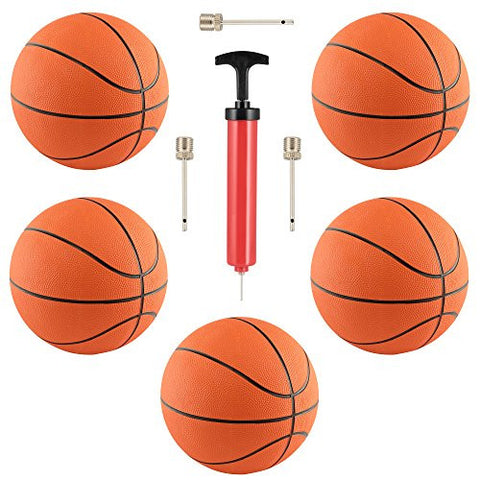 "(5 Pack) Rubber 7"" Basketballs for Indoor/Outdoor Use. Includes 10"" Hand Pump with Needle for Basketballs, and 3 extra needles! By M & M Products Online"