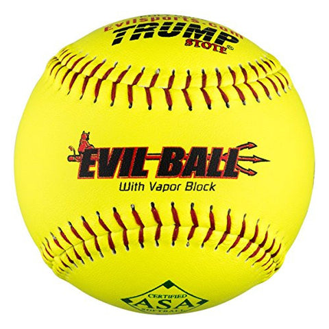 "1 Dozen ASA Evil Ball 12"" Softballs 52 COR 300 Compression 12 Balls (MP-EVIL-RP-ASA-Y)"
