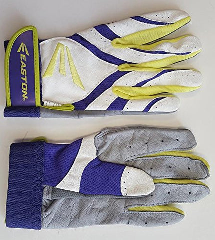 1 pr Easton Synergy II Adult Large Softball Batting Gloves White/ Purple/ Optic
