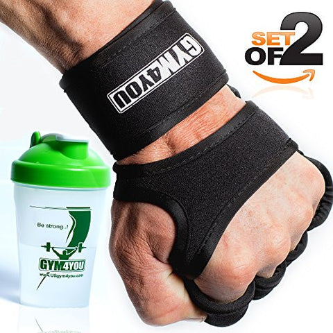 (black, M) Gym4You Fitness Grips - with BONUS SHAKER - Ideal Weight Lifting Gloves for Gym, Workout or CrossFit - Leather Padding for best palm protection - BONUS E-BOOK.