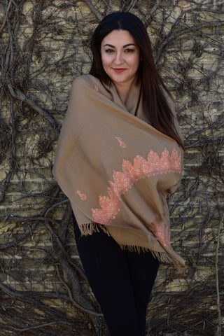 Peach Blossoms Cashmere, Shawls- Diya Boutique Premium Scarf Boutique