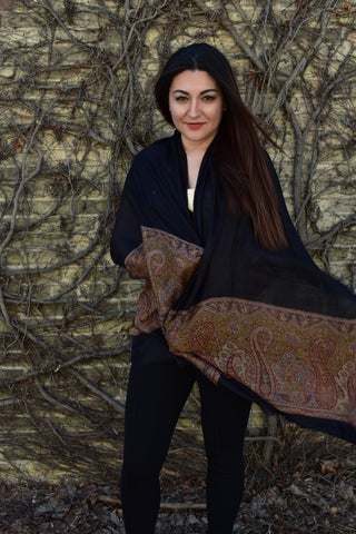 Film Noir, Pashmina- Diya Boutique Luxury Scarves and textiles