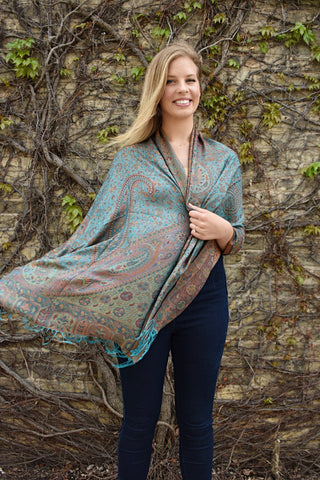 Oceanside, Shawl- Diya Boutique Luxury Scarves and textiles