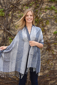 Blue Steel, Shawl- Diya Boutique Luxury Scarves and textiles