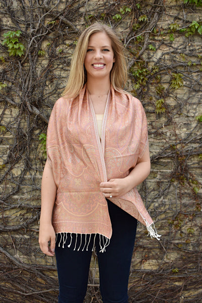 Peaches, - Diya Boutique Luxury Scarves and textiles