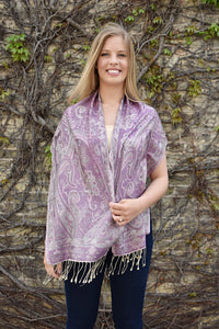 Creme De Violette, Scarf- Diya Boutique Luxury Scarves and textiles