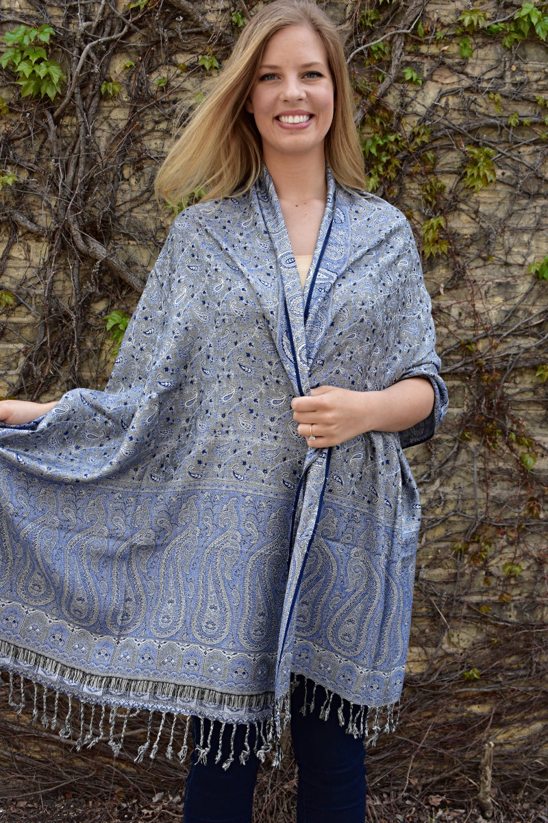 Denim, Shawl- Diya Boutique Luxury Scarves and textiles