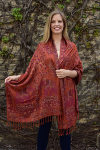 Oriental Garden, Shawl- Diya Boutique Luxury Scarves and textiles