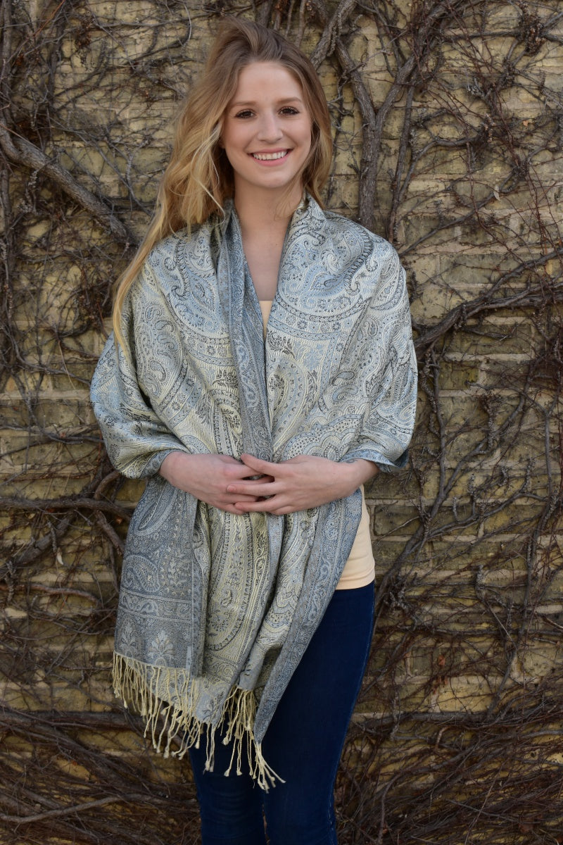 Platinum Paisley, Shawl- Diya Boutique Premium Scarf Boutique