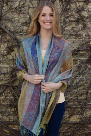 Turquoise Beach, Shawl- Diya Boutique Luxury Scarves and textiles