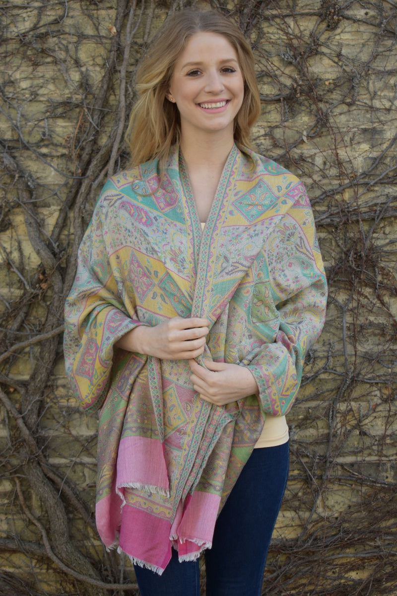 Pastel Flowers, Shawl- Diya Boutique Luxury Scarves and textiles