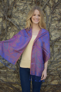 Crimson Sky, Scarf- Diya Boutique Luxury Scarves and textiles