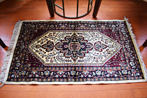 Burgundy Flowers, Rug- Diya Boutique Luxury Scarves and textiles