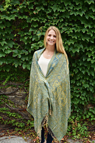 Green and Gold, Shawl- Diya Boutique Premium Scarf Boutique