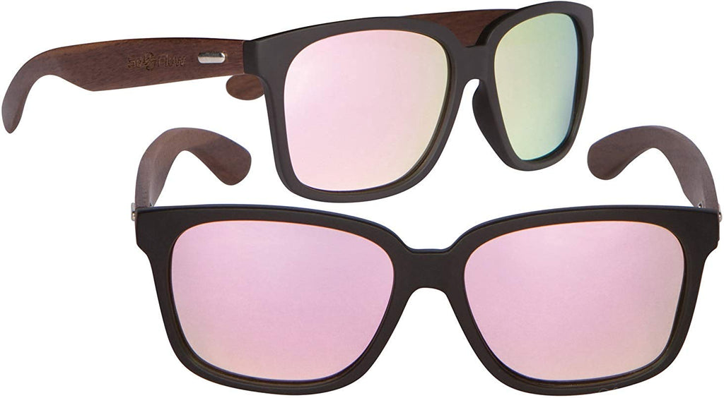 5eda16bfb8 SoFlow Walnut Wood Sunglasses for Men or Women with Polarized Lenses -  Wooden ...