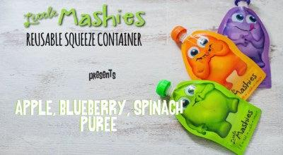 Little Mashies Apple blueberry and spinach baby puree