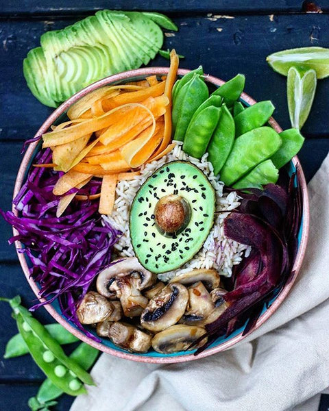 Buddha Bowl with Pan-Fried Mushrooms