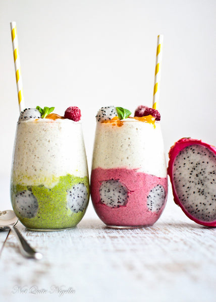 Colourful Chia DragonFruit Fruit Shake Parfaits