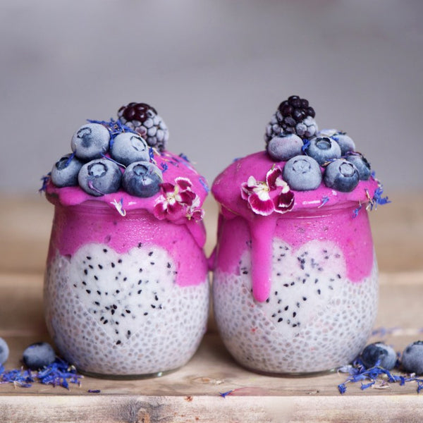 Pink Dragonfruit layered Chia Pudding