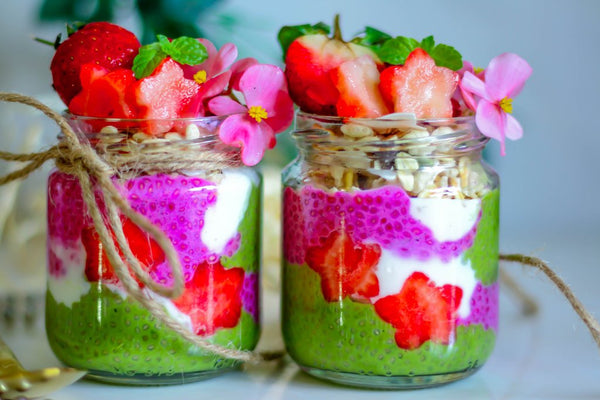Pitaya and Matcha Chia Puddings Jars