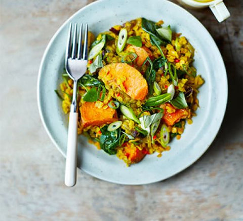 Spinach, sweet potato & lentil dhal