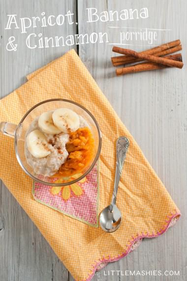 Baby food recipe Apricot, Banana & Cinnamon porridge from Little Mashies reusable food pouches. For free recipe ebook go to Little Mashies website or Amazon