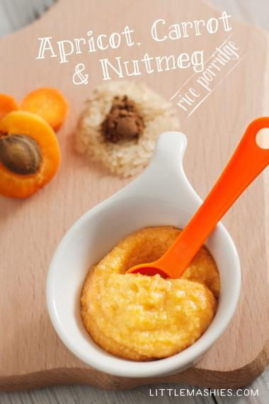 Baby food recipe Carrots Apricots and Rice puree from Little Mashies reusable food pouches. For free recipe ebook go to Little Mashies website or Amazon