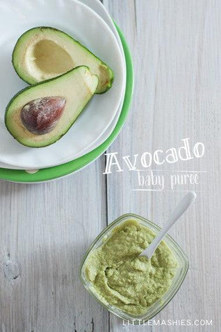 Baby food recipe Avocado puree from Little Mashies reusable food pouches. For free recipe ebook go to Little Mashies website or Amazon