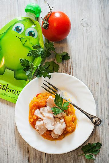 Fish and Vegetable Puree from Little Mashies reusable food pouches. For free recipe ebook go to Little Mashies website or Amazon