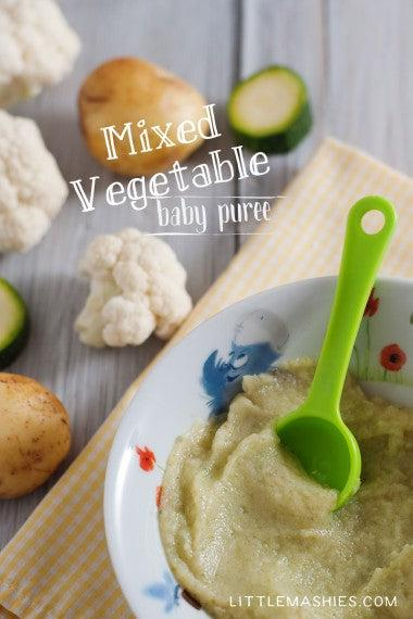Baby food recipe Mixed Vegetables puree from Little Mashies reusable food pouches. For free recipe ebook go to Little Mashies website or Amazon