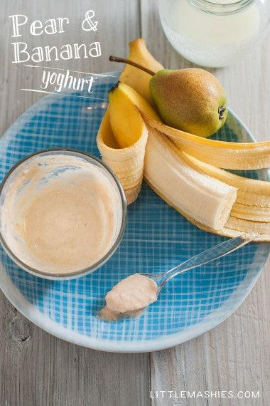 Baby food recipe Pear, Banana and Yogurt from Little Mashies reusable food pouches. For free recipe ebook go to Little Mashies website or Amazon