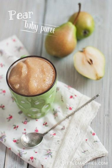 Baby food recipe Pear puree from Little Mashies reusable food pouches. For free recipe ebook go to Little Mashies website or Amazon
