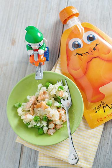 Salmon, potato and Pea from Little Mashies reusable food pouches. For free recipe ebook go to Little Mashies website or Amazon