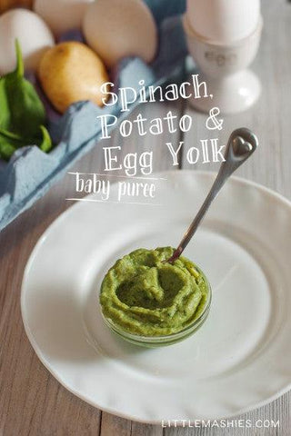 Baby food recipe Spinach Potato and Egg Yolk puree from Little Mashies reusable food pouches. For free recipe ebook go to Little Mashies website or Amazon