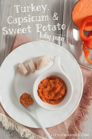 Baby food recipe Turkey, Sweet Potatoes and Capsicum Baby puree from Little Mashies reusable food pouches. For free recipe ebook go to Little Mashies website or Amazon