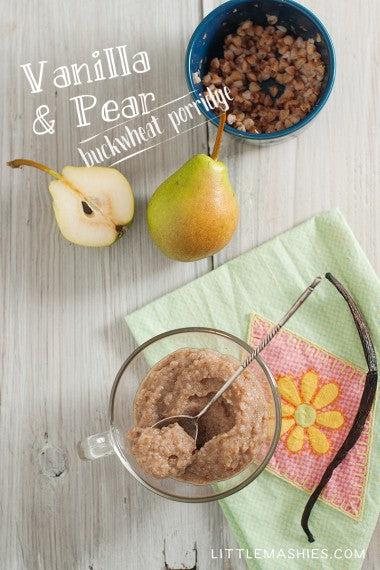 Baby food recipe Buckwheat and Pear puree from Little Mashies reusable food pouches. For free recipe ebook go to Little Mashies website or Amazon