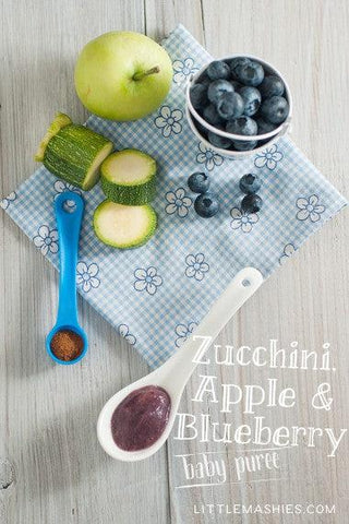 Baby food recipe Zucchini, Apple & Blueberry puree from Little Mashies reusable food pouches. For free recipe ebook go to Little Mashies website or Amazon
