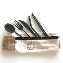 Little Mashies Stainless Steel & Organic Cotton Cutlery Set Black