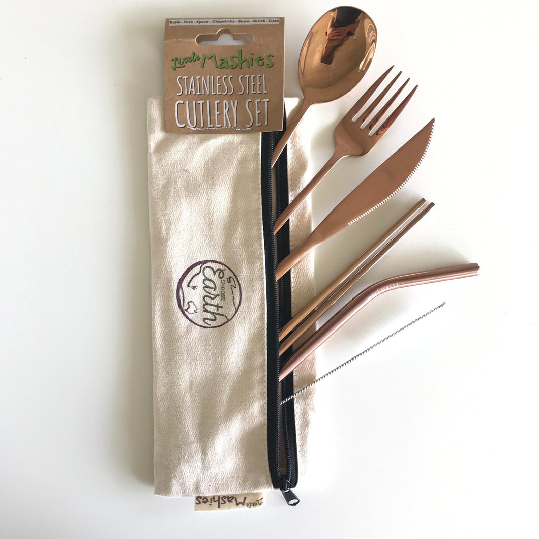 Little Mashies Stainless Steel & Organic Cotton Cutlery Set Rose Gold