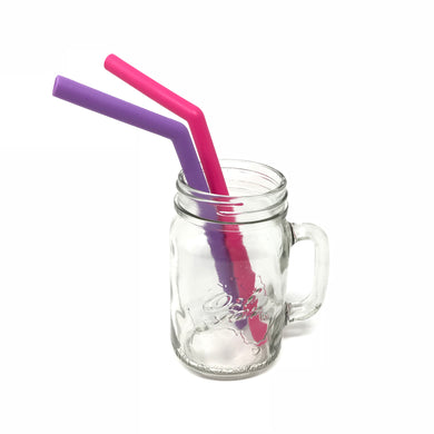 Little Mashies Reusable Soft Silicone Straws  (Pink and Purple)