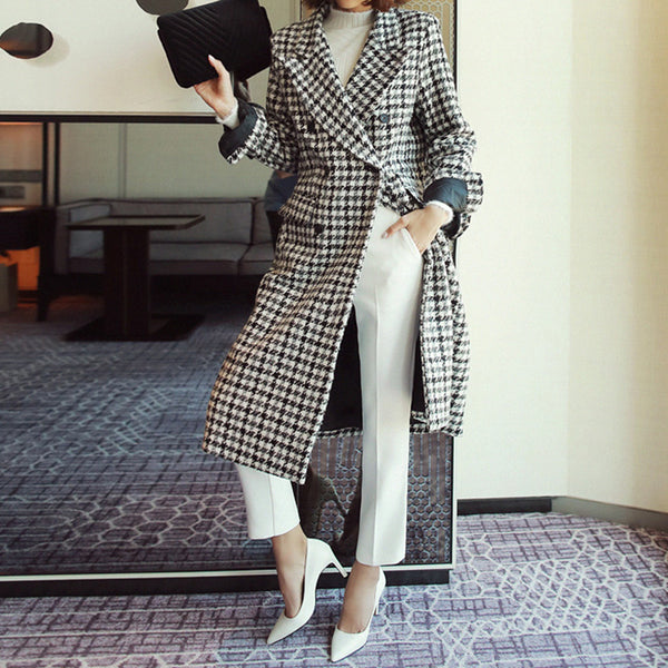 MAGZERO Double-Breasted Houndstooth Wool-Blend Long Coat Ivory & Black