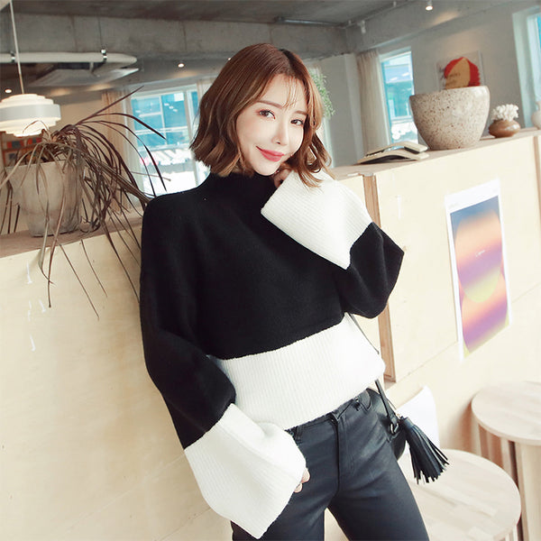 MAGZERO Bell Sleeve Color-Block Sweater Black&White