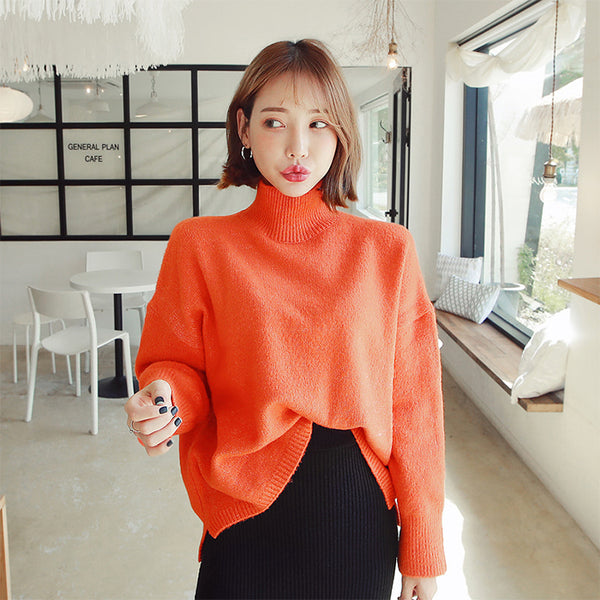 MAGZERO Funnel-Neck Unbalanced Sweater Orange