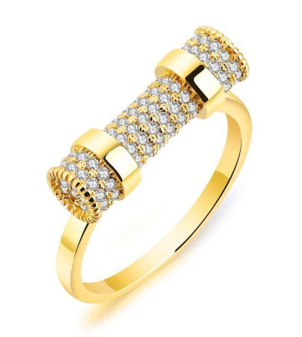 KATORSZ GOLD PLATED CRYSTAL CLUSTER RING - KATORSZ