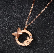 KATORSZ ROSE GOLD PLATED CRYSTAL BUTTERFLY  NECKLACE - KATORSZ