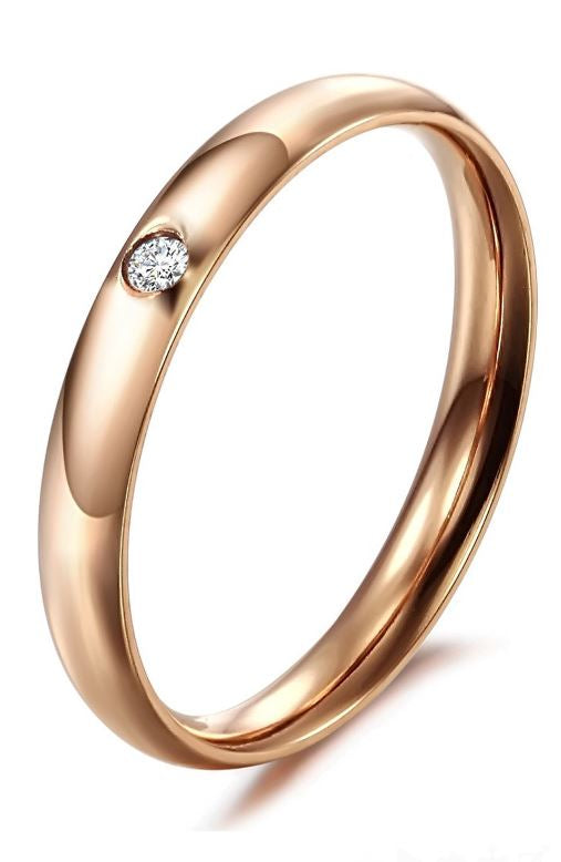 KATORSZ 18K ROSE GOLD PLATED BAND RING WITH CRYSTAL - KATORSZ