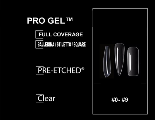 PRE-ETCHED® Pro Gel Tip™ Ultra Clear Well-Less Full Cover Nails - Try Them All! - 20 CT. STILETTO + BALLERINA + SQUARE