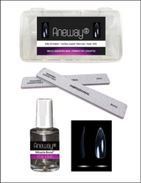 PRE-ETCHED® Pro Gel™ Ultra Clear Full Cover Pro Gel Nail Tips - ENHANCEMENT KIT - ALMOND STILETTO