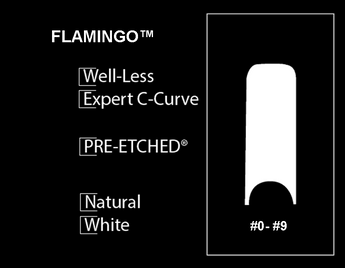 100 CT. -  PRE-ETCHED® FLAMINGO™ - PRO NAIL TIPS - WHITE . NATURAL