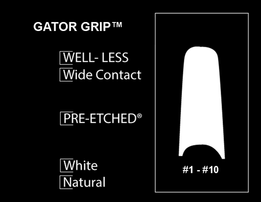 100 CT. - PRE-ETCHED® GATOR GRIP™ PRO NAIL TIPS - WHITE . NATURAL
